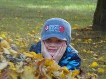 Giovane ragazzo del primo piano con le foglie di caduta immagini stock