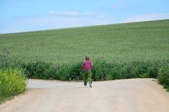 Giovane ragazzo fatto funzionare nei campi fotografie stock libere da diritti