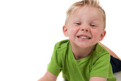 Giovane ragazzo felice su bianco Immagini Stock Libere da Diritti