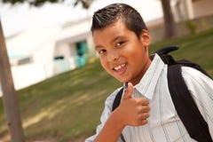 Giovane ragazzo ispanico felice pronto per il banco Immagini Stock Libere da Diritti