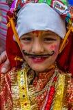 Giovane ragazzo nel festival di GaijatraThe delle mucche Immagine Stock