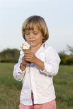 Giovane ragazzo sveglio che mangia un gelato saporito Fotografia Stock
