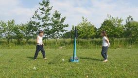Giovane ragazzo teenager e ragazza che giocano volano in prato con la foresta nel fondo Bambini con le racchette di volano in man archivi video