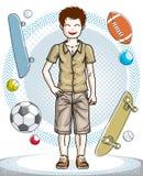 Giovane ragazzo teenager felice sveglio che posa grumo casuale alla moda d'uso Immagini Stock Libere da Diritti