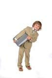 Giovane ragazzo in vestito con il computer portatile Fotografia Stock