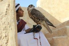 Giovane ragazzo in vestito tradizionale con il suo falco dell'animale domestico fotografia stock