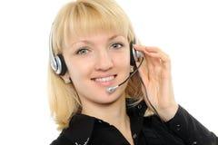 Giovane rappresentante femminile di servizio di assistenza al cliente immagini stock