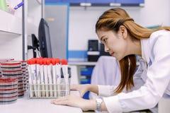Giovane ricercatore asiatico che esamina la boccetta nel lavoro di scienza Immagini Stock Libere da Diritti