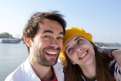Giovane risata sorridente felice delle coppie Immagine Stock Libera da Diritti