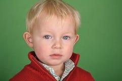 Giovane ritratto del bambino maschio sullo schermo verde Fotografie Stock Libere da Diritti