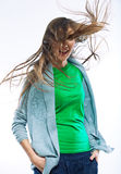 Giovane ritratto felice della donna Su fondo bianco Fotografia Stock