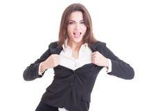 Giovane riuscita donna di affari che agisce Immagine Stock