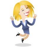 Giovane salto biondo della donna di affari royalty illustrazione gratis