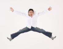 Giovane salto del maschio Immagini Stock