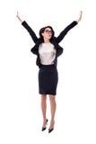 Giovane salto felice della donna di affari isolato su bianco Fotografia Stock Libera da Diritti