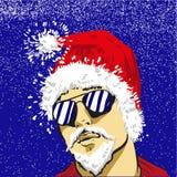 Giovane Santa Claus in vetri di sole vector Cristo, a titolo dimostrativo Immagini Stock Libere da Diritti