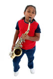 Giovane sassofonista Fotografia Stock Libera da Diritti