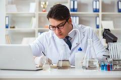 Giovane scienziato del ricercatore che fa un expe di contaminazione della prova di acqua Immagine Stock