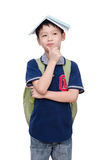 Giovane scolaro con lo zaino Immagini Stock Libere da Diritti
