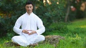 Giovane sereno che fa meditazione all'aperto video d archivio