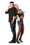 Giovane serio e blonde allegro Fotografia Stock Libera da Diritti