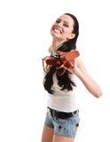 Giovane, sexy, donna con la retro macchina fotografica. Fotografia Stock Libera da Diritti