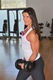 Giovane signora atletica che fa allenamento nello studio di forma fisica Immagini Stock Libere da Diritti