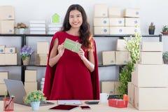 Giovane signora che lavora a casa ufficio fotografia stock libera da diritti