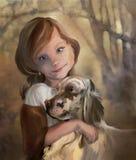 Giovane signora con il cane Fotografia Stock Libera da Diritti