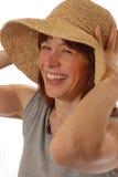 Giovane signora con il cappello di paglia Fotografia Stock Libera da Diritti