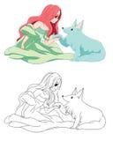 Giovane signora con il suo lupo Illustrazione Vettoriale