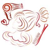 Giovane signora con un'acconciatura, un fon e un pettine eleganti illustrazione vettoriale