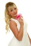 Giovane signora con una rosa Fotografia Stock