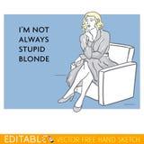 Giovane signora Donna stupida Carta editabile del meme di vettore Fotografia Stock Libera da Diritti
