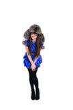 Giovane signora piacevole in cappello di pelliccia fotografie stock libere da diritti
