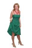 Giovane signora in vestito verde fotografie stock libere da diritti