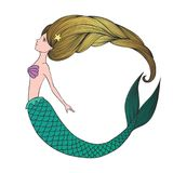 Giovane sirena disegnata a mano sveglia Immagini Stock