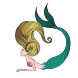 Giovane sirena disegnata a mano sveglia Fotografia Stock Libera da Diritti