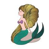 Giovane sirena disegnata a mano sveglia Fotografie Stock Libere da Diritti