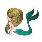 Giovane sirena disegnata a mano sveglia Fotografia Stock