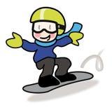 Giovane snowborder del ragazzo che corre giù il pendio illustrazione vettoriale