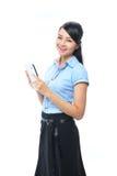 Giovane sorridere asiatico sicuro della donna di affari immagini stock libere da diritti