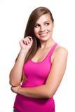 Giovane sorridere di sguardo di modello della donna Fotografia Stock