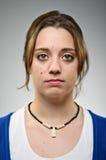 Giovane spazio in bianco caucasico Expresion della donna Fotografia Stock Libera da Diritti