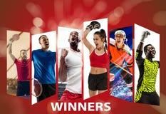 Giovane sport di squadra contro fondo rosso, collage fotografie stock