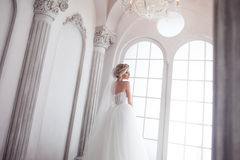 Giovane sposa affascinante in vestito da sposa lussuoso Ragazza graziosa, lo studio della foto Fotografia Stock Libera da Diritti