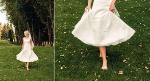 Giovane sposa bionda che cammina lungo l'erba in un parco esotico Immagini Stock Libere da Diritti