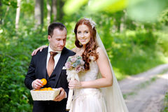 Giovane sposa e sposo che fanno una passeggiata Immagine Stock