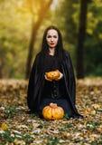 Giovane strega nella foresta di autunno immagini stock libere da diritti