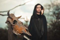 Giovane strega in una foresta fotografia stock